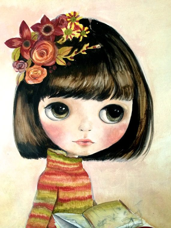 Niña de lector de pintura de muñeca Blythe...