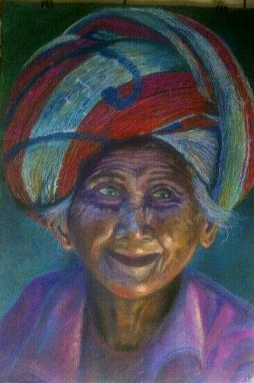 Old Balinese Woman - Pastel