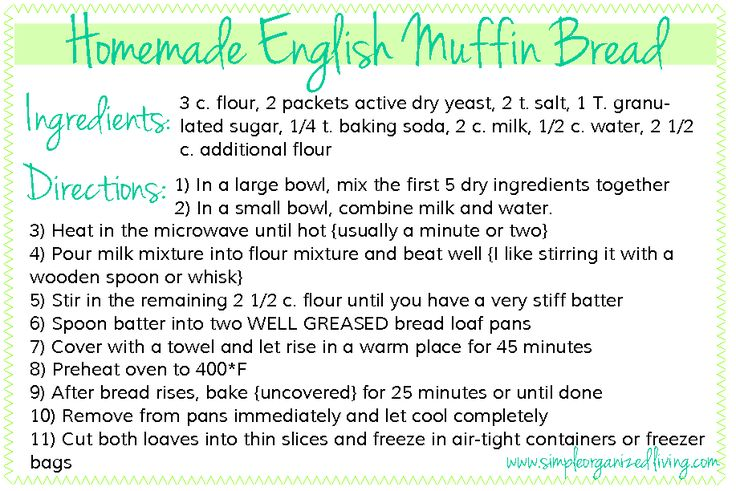 English Muffin Bread Recipe. (it won't let me pin the bread picture =[ ) I cannnnoootttttt wait to make this!
