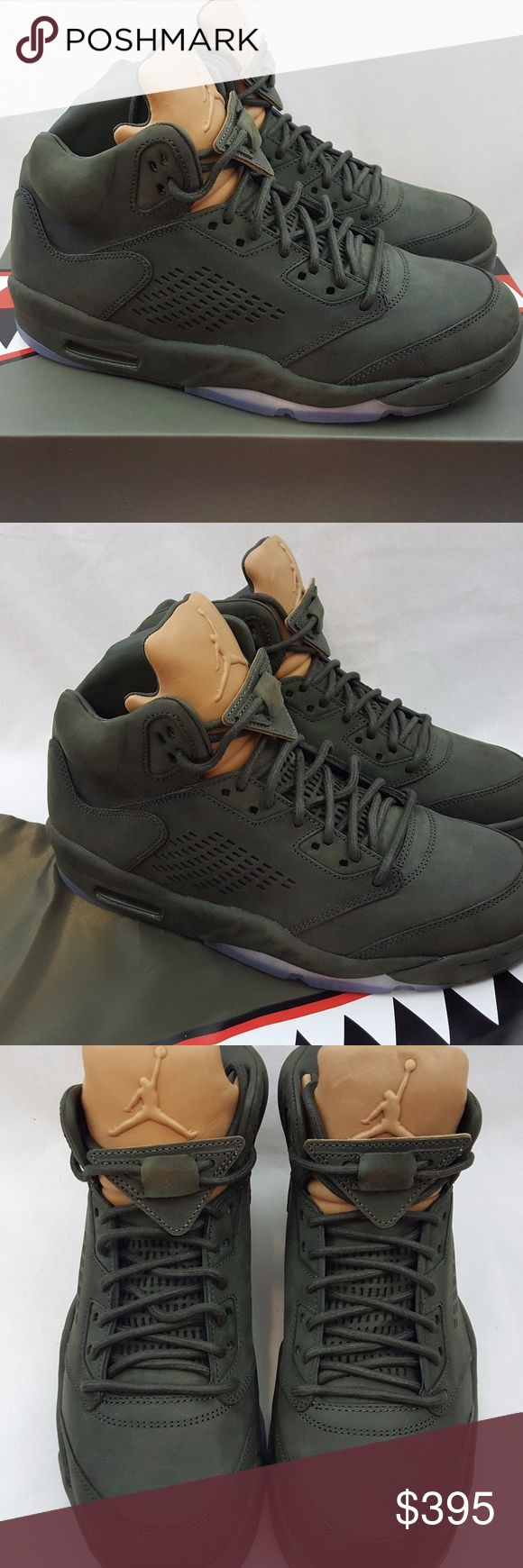 """Nike Air Jordan V 5 Premium Nike Air Jordan V 5 Premium Size 10 """"Take Flight"""" 881432-305 Sequoia Undefeated Brand: Nike Name: Air Jordan V 5 Premium """"Take Flight"""" Colorway: Sequoia/Metallic Gold Style Code: 881432-305 Year of Release: 2017 Size: 10 Condition: Brand new with box Included Accessories: Comes with carrying bag. Does not have the card insert. Additional Information: 100% authentic merchandise or your payment will be refunded in full. Air Jordan Shoes Athletic Shoes"""