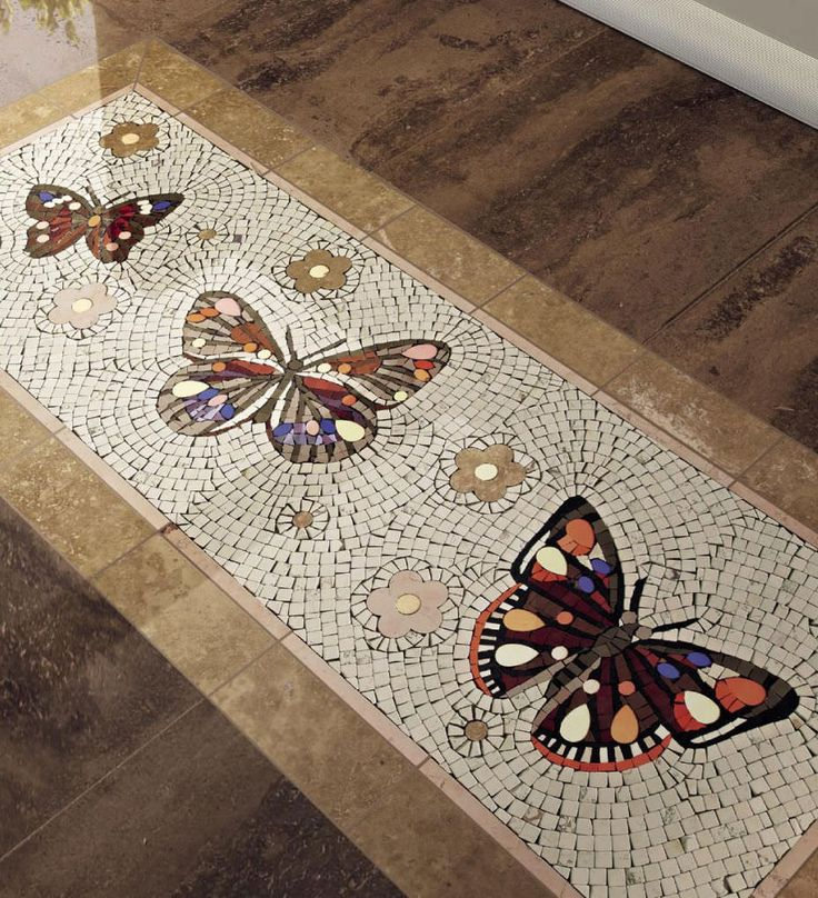 Indoor mosaic / floor-mounted / marble / polished - PAPILLONS - SICIS