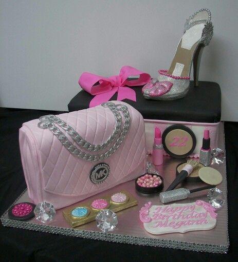 Makeup Purse Shoe And Shoebox Cake Birthday Cakes