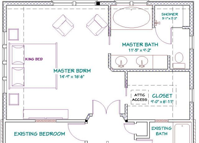 Master bathroom floor plans addition to 1 1 2 story home previous next bathroom ideas Master bedroom plans with bath