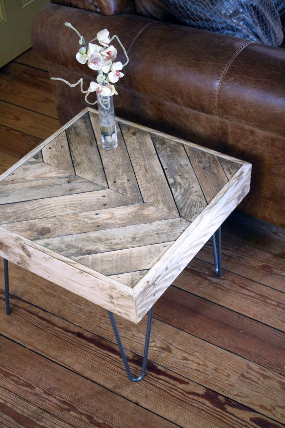 Upscaled Pallet Herringbone Chevron Side Table By