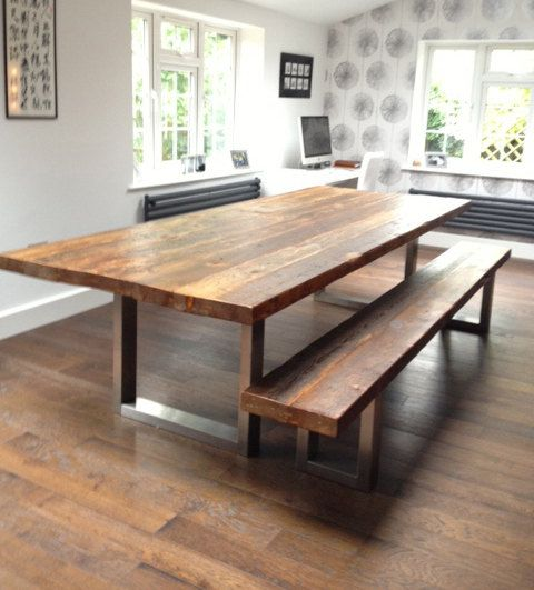 Wood & steel dining table and matching bench by MacAndWood on Etsy, 3100$. I would trade my nice dining table anytime for this wonderful one...