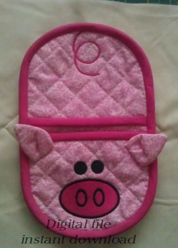 Pig oven mitt NEW 5x7 size, in the hoop applique machine embroidery design,  digital pattern