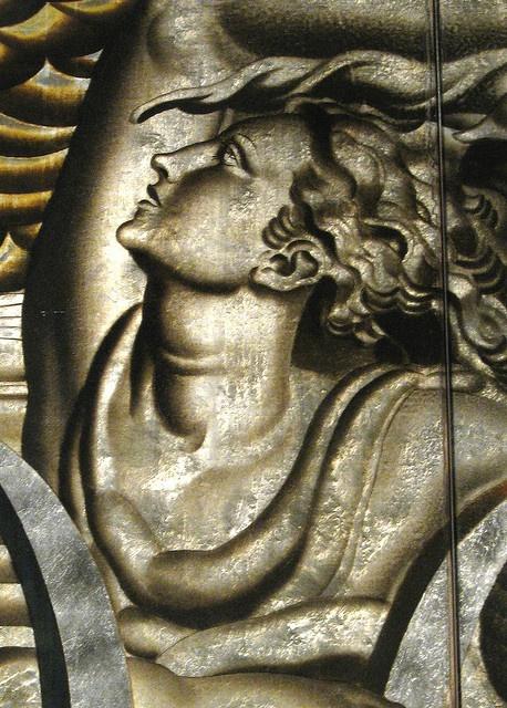 Met Museum  Art Deco glass panel detail from the Normandie.  (Mark B. Schlemmer, via Flickr)