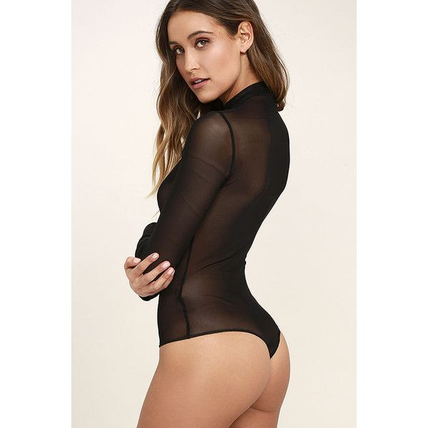 I See You Black Mesh Bodysuit ($38) ❤ liked on Polyvore featuring intimates and shapewear