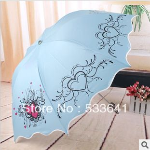 Free shipping high quality fashion elargol sunscreen arched folding umbrellas anti-uv sun umbrella princess umbrella ruffle
