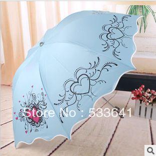 Free shipping high quality fashion elargol sunscreen arched folding umbrellas anti-uv sun umbrella princess umbrella ruffle
