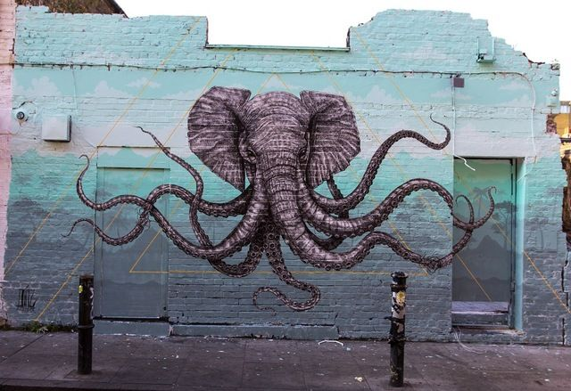 Puerto Rico-based artist Alexis Diaz has created a detailed mural of a hybrid elephant octopus in London.