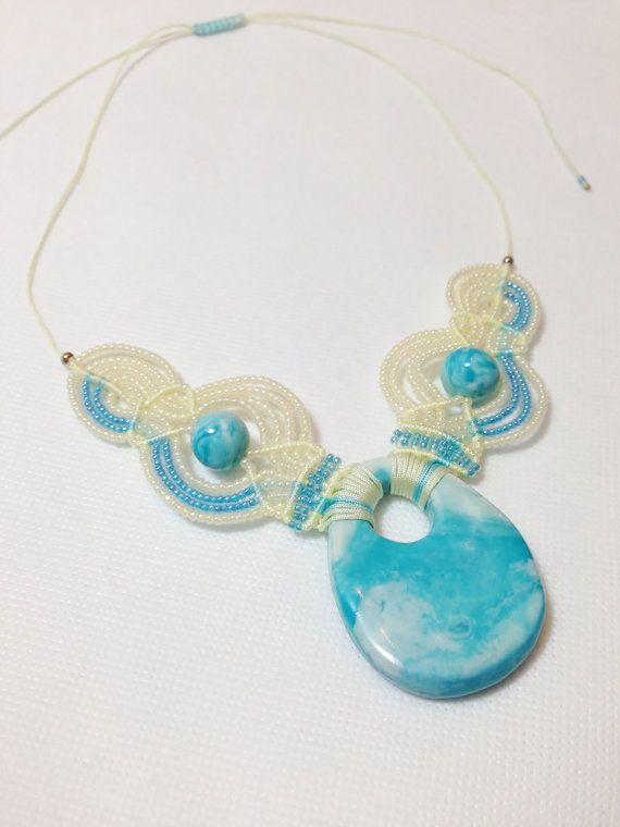 Blue Sky Micro Macrame Beaded Necklace with Seed by DSfashion