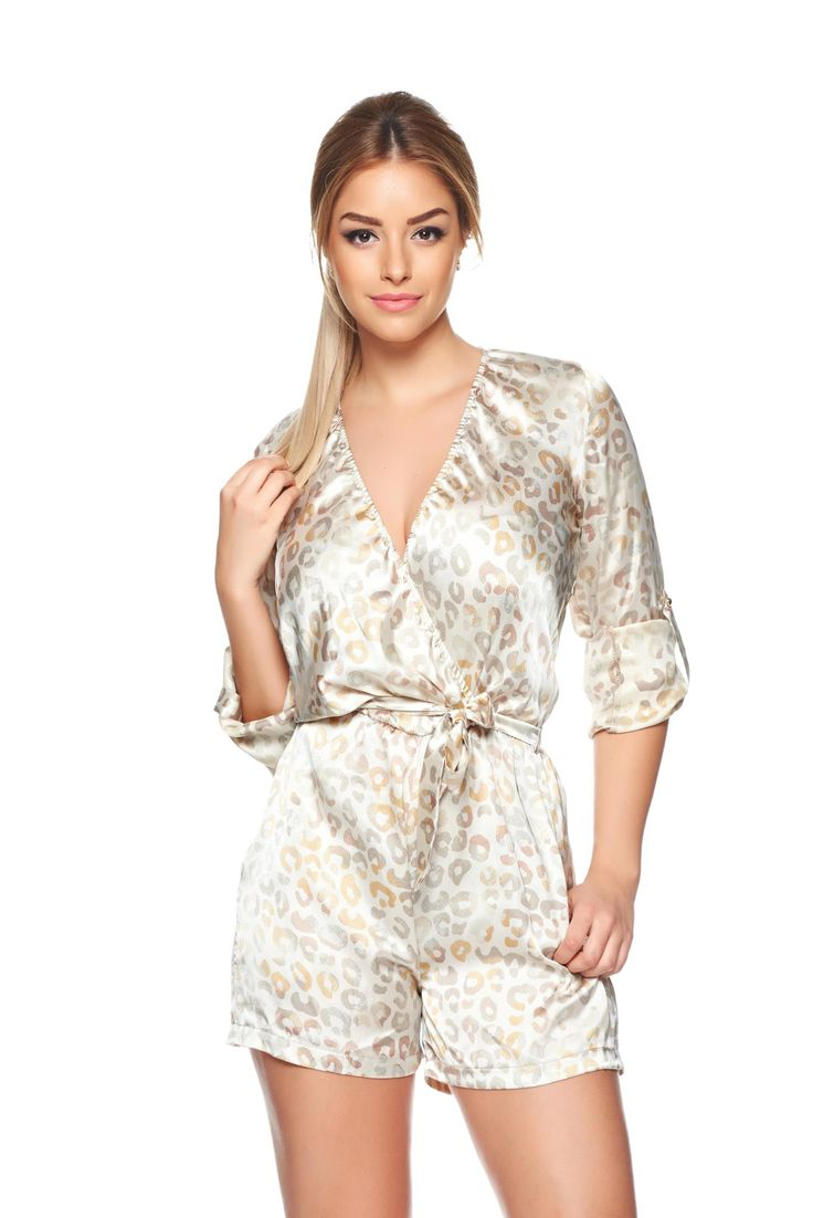 "PrettyGirl Spellbind Cream Jumpsuit, women`s jumpsuit, elastic cleavage, ""V"" cleavage, with pockets, sleeves are fastened with a cord, long sleeves, floral prints, accessorized with tied waistband, elastic waist, nonelastic fabric, airy fabric, soft fabric"