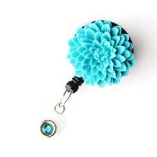 Badge Blooms ID Badge Reel - Flower - Turquoise