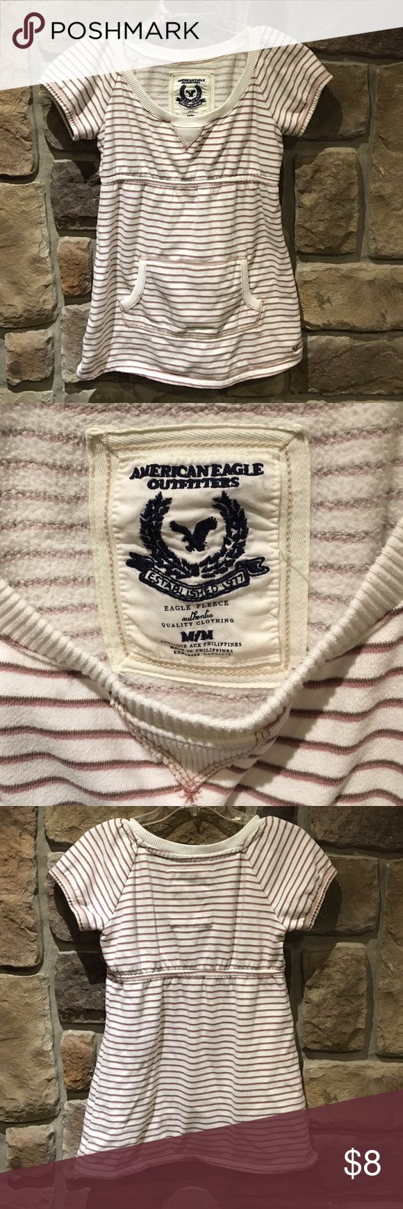 American Eagle shirt size Medium. American Eagle shirt size Medium. Material is like a thin sweatshirt. Color of stripes are mauve and brown American Eagle Outfitters Tops