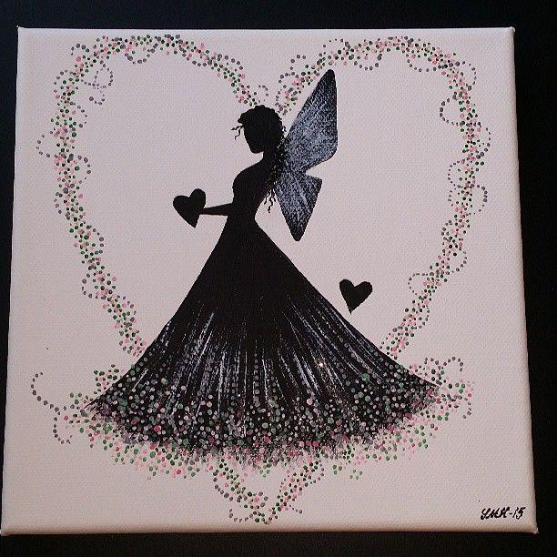 20x20 cm. #akrylmålning #canvastavla  #älva #hjärtan #sagofigur @smhhobbystudio