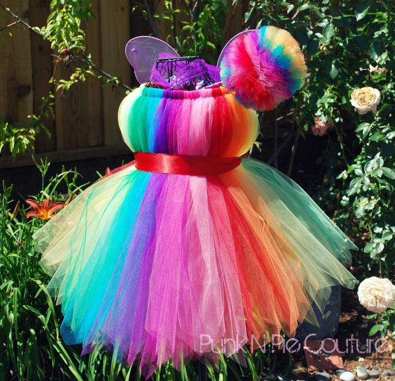 Rainbow Fairy Tutu Dress.  Love the colors and I'm pretty sure I can make it!
