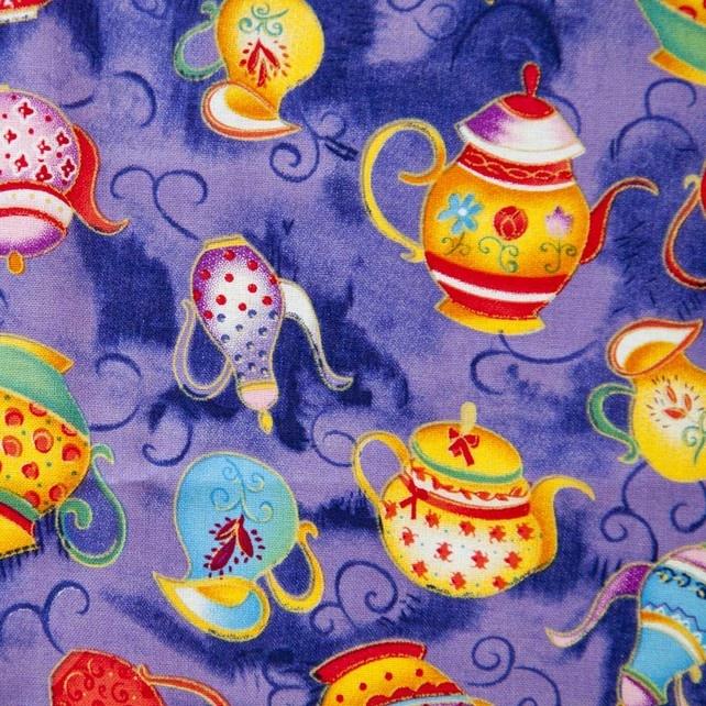 """Teapots cotton print: approx 44"""" x 36"""" (4 fat quarters) £7.25"""