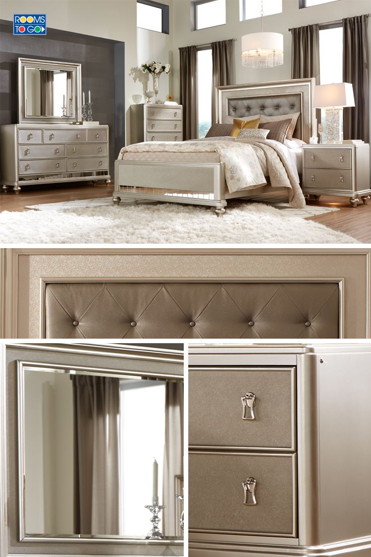 The chic Paris collection combines lavish design with smart organizational features and indulgent comfort to create your dream bedroom. Each piece is crafted of pine solids and birch veneers and rendered in a stunning champagne finish.