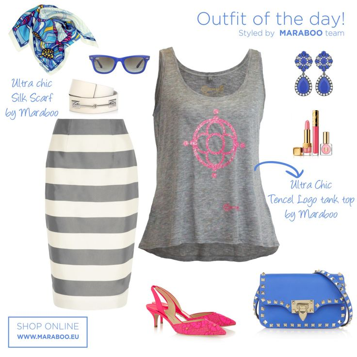 "Pencil skirt,grey tencel t-shirt $64.90€,silk scarf ""ocean flowers"" $55€,blue bag,white belt"