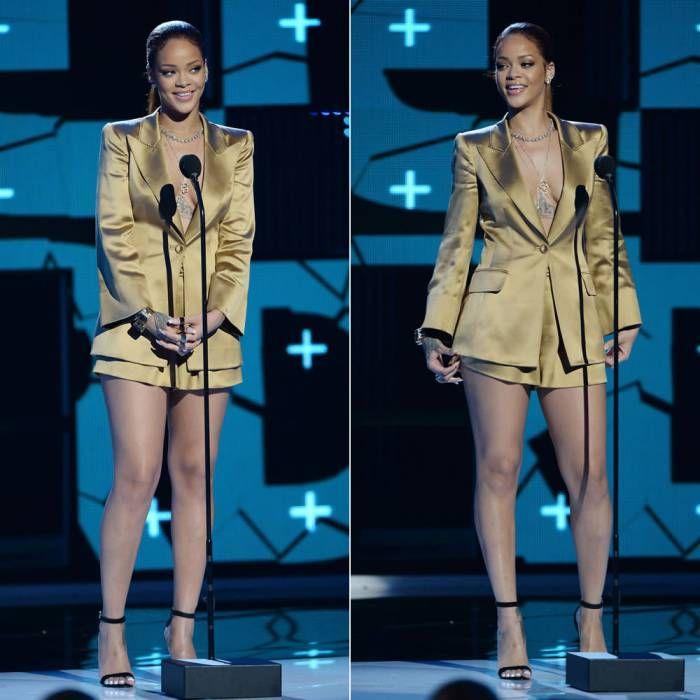Rihanna in Armani bronze silk satin jacket and shorts, Manolo Blahnik chaos sandals at BET Awards 2015