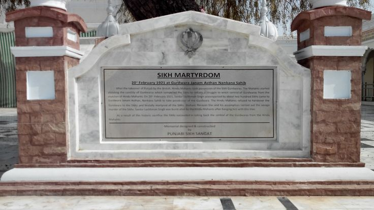 To commemorate the Martyrdom of Sardar Lachman Singh and around 200 other Sikhs. The plaque bears the details.
