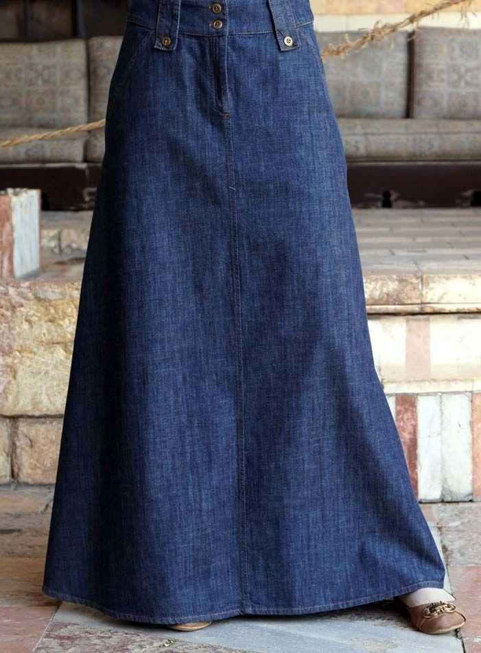 SHUKR USA   Denim A-Line Flared Skirt