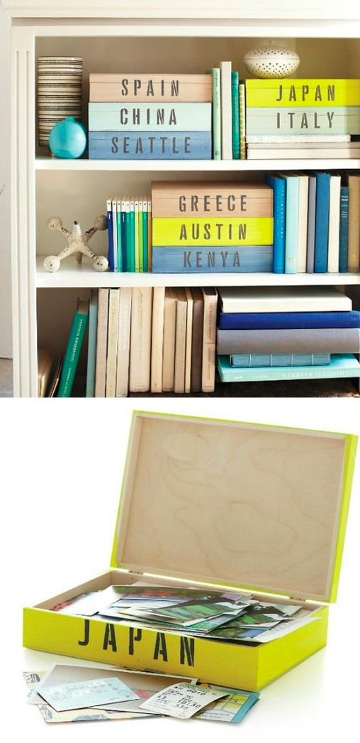 Make display-worthy keepsake boxes for each of your favorite destinations: | 20 Ways To Display Keepsakes From Your Travels And Trips