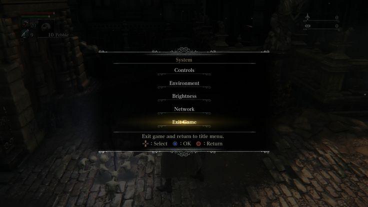 Afbeeldingsresultaat voor bloodborne game menu