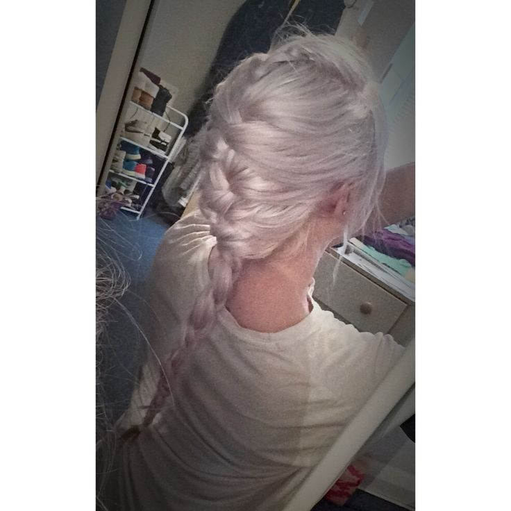 French Braid first attempt on silver hair - Bleach London dye Purple Fudge toning shampoo