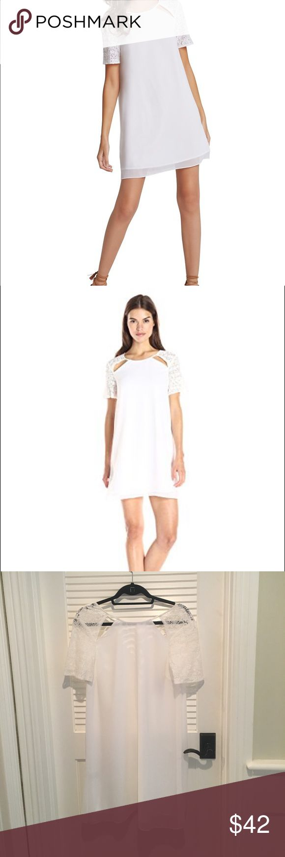 Bcbg White shift dress with lace detail Bcbg White shift dress with lace detail BCBGeneration Dresses