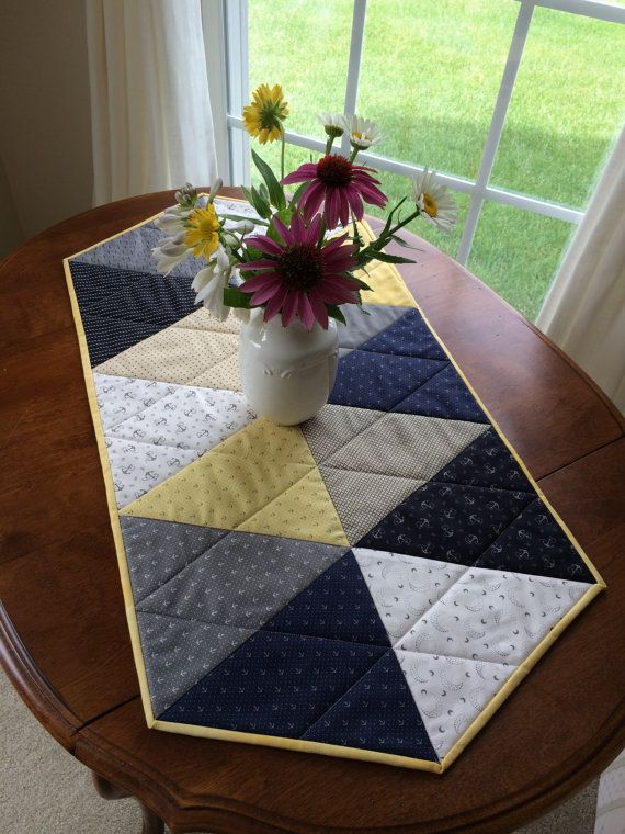 Nautical Quilted Table Runner Navy Blue Grey Yellow by seaquilt
