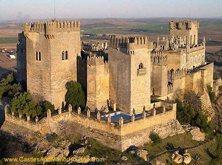 CASTLES OF SPAIN - Castle of Almodóvar del Río, Córdoba. The castle, sits above the town, on top of a sheer-walled monolith. The castle's origins date back to Roman times. The actual construction, however, was built by the Arabs in 760. Under the rule of Fernando III it came to the Christians in 1240, under Pedro I and Enrique II it even served as royal residence. Later the fortress was handed to the knightly order of Calatrava and then to the order of Santiago.