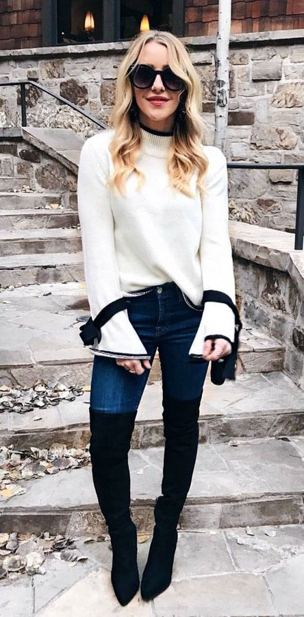 #fall #outfits women's white sweater and blue-washed jeans