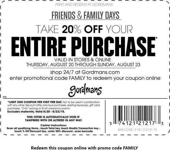 Gordmans 20 off coupon august 2018