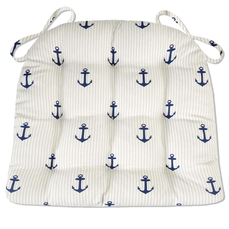 Anchors Stripe Indoor / Outdoor Dining Chair Pads & Patio Cushions - Navy Blue