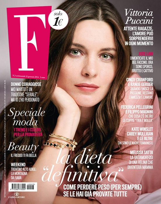 Actress VITTORIA PUCCINI on F Magazine cover, hair by Massimo Serini, January 2014