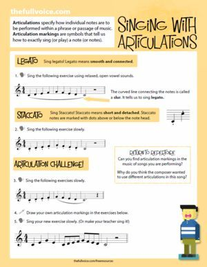 FREE DOWNLOAD: Vocal Warm-Ups for Kids - singing with articulations. Explore legato and staccato singing with five note scales