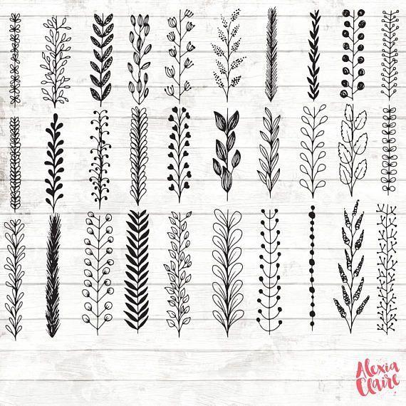 Leaf Botanical Clipart – 33 Hand Drawn Leaves …