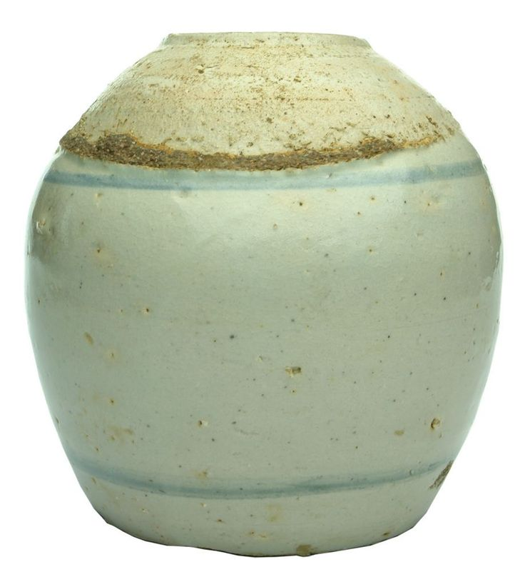 Large Chinese Ginger Jar. Blue line around shoulder and  base. 153 mm.  EX, pottery blowouts, chipping or wear  around the base edge, crazing (8.2)    $45    Large Chinese Ginger Jar. Blue line around shoulder and  base. 153 mm.  EX, pottery blowouts, chipping or wear  around the base edge, crazing (8.2)    $45