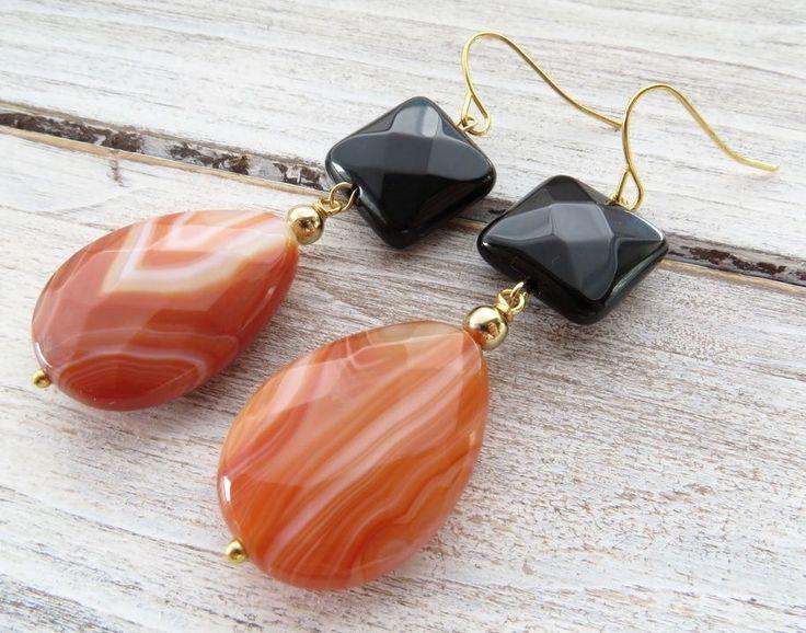 Orecchini a goccia con agata arancione, pendenti onice nero, gioielli pietre
