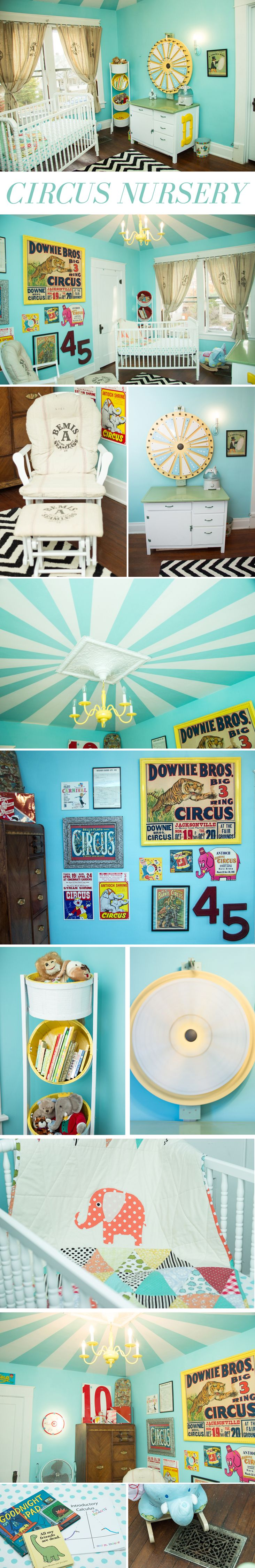 Vintage circus nursery! Ritzy Rosebud.  Love this, especially the ceiling!