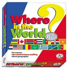 http://www.educationaltoysplanet.com/where-in-the-world-geography-game.html Where in the World Geography Game. Where in the World Geography Game by Talicor is one of the best kids geography board games around.