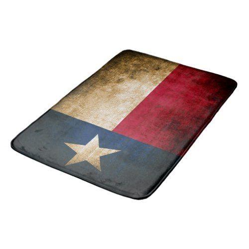 Patriotic Rustic Flag of Texas Bathroom Mat