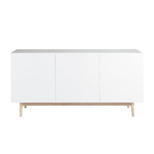 Buffet vintage en bois blanc L 160 cm