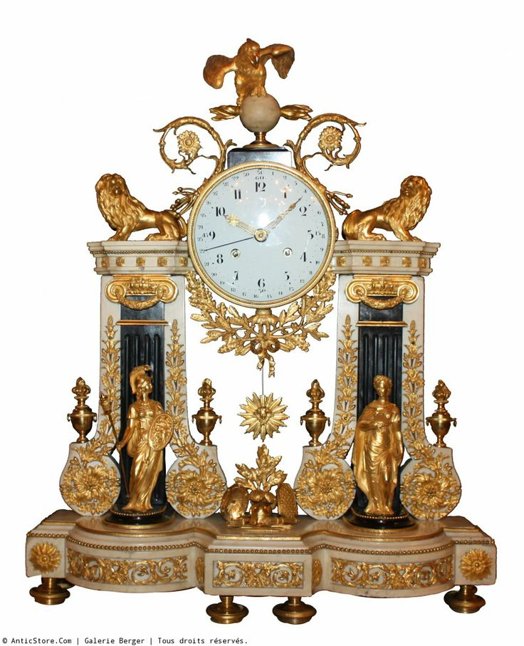 "A large Louis XVI ""portique"" ormolu and white marble mantel Clock, symbolizing Strength and Justice."