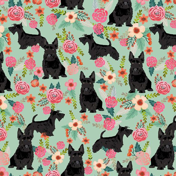 Black Scottie Dog Fabric Scottie Dog Florals Scottish Scottie Dog Scottish Terrier Scottie