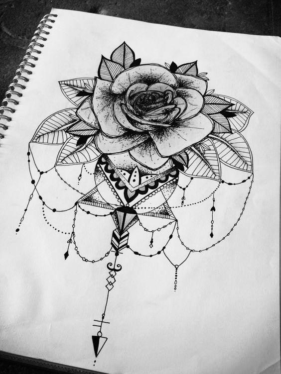 floral rose mandala geometric tattoo design illustration.