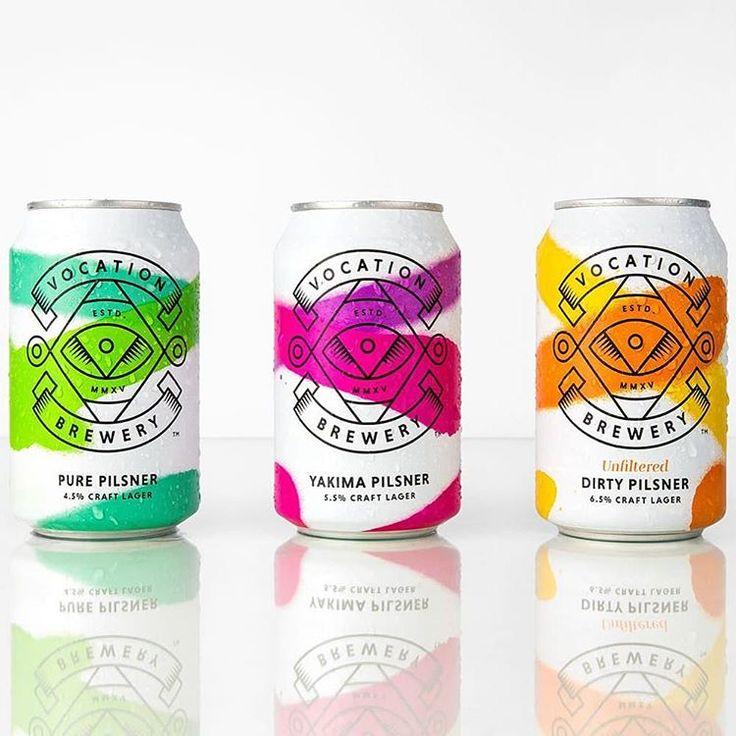 "866 Likes, 5 Comments - Mindsparkle Mag (@mindsparklemagazine) on Instagram: ""Beautiful Vocation Lager beer branding & packaging by @robotfooddesign #productdesign #design…"""