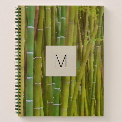 Closeup of bamboo stalk -  your monogram notebook - original gifts diy cyo customize